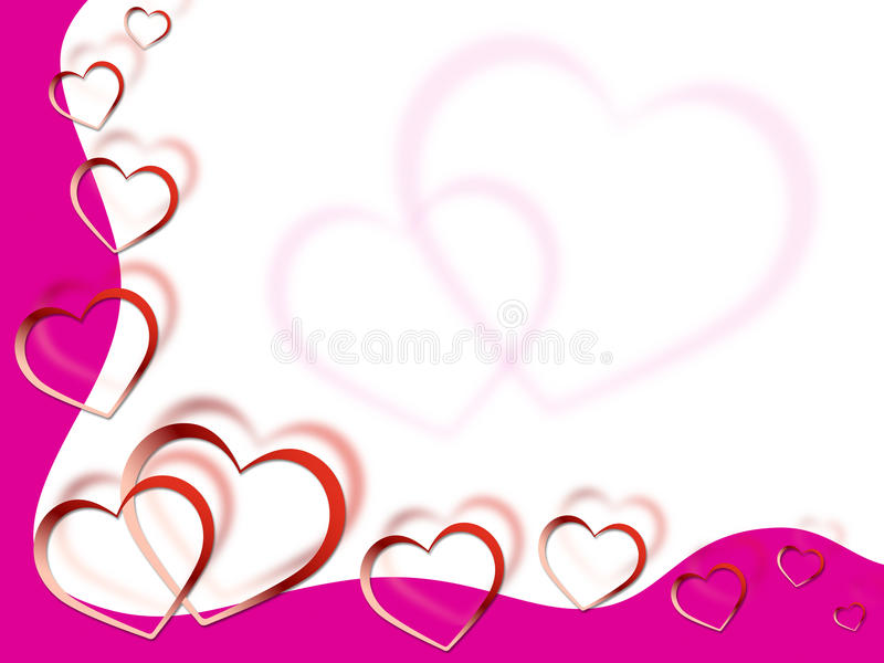 Hearts Background Shows Love Desire And Pink stock illustration