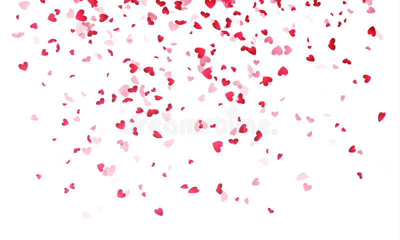 Hearts background, Valentine Day falling heart pink confetti. On white backdrop. Saint Valentines greeting card design. Flower petal in shape of heart vector illustration