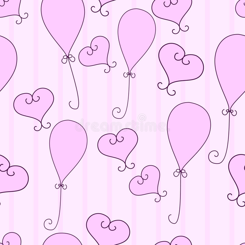 Download Hearts and balloons stock vector. Image of birthday, pattern - 7630030