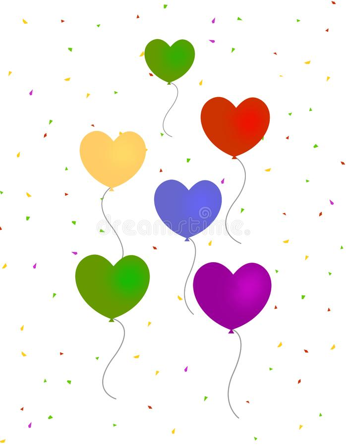Hearts balloons with confetti royalty free stock photography