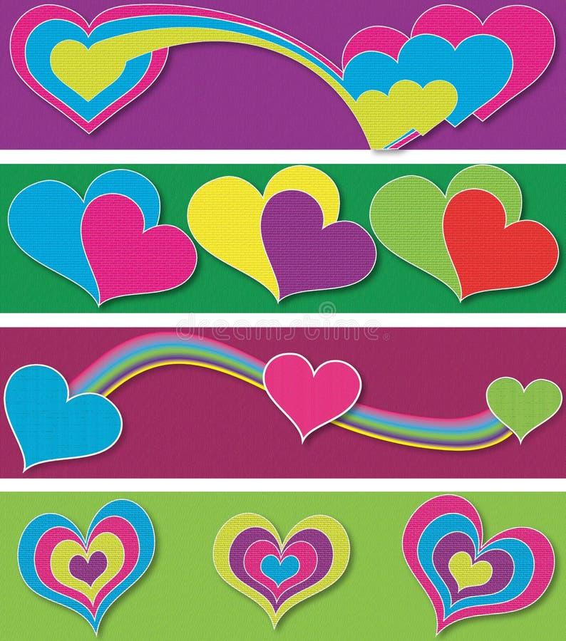 Hearts_Banners 免版税库存照片