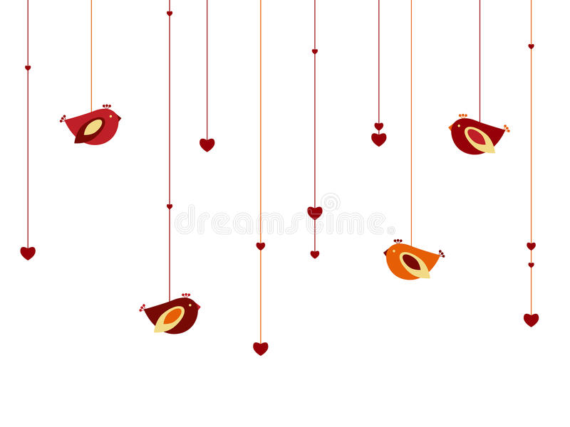 Hearts and birds royalty free stock photography