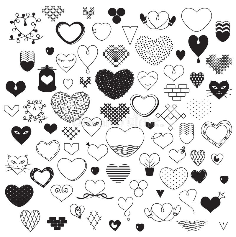 Hearts. Black and white hearts sketch stock illustration