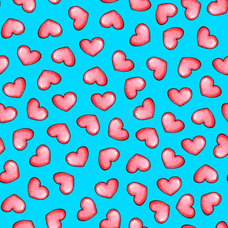 Hearts on a blue background royalty free illustration