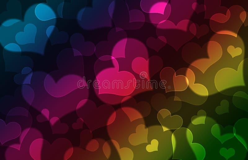 Hearts bokeh. Shiny hearts bokeh light Valentine`s day background vector illustration