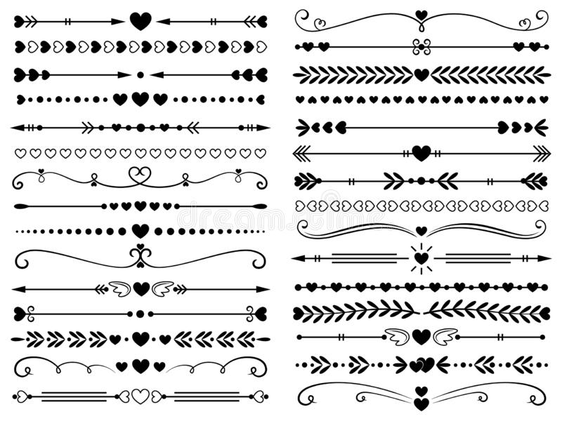 Hearts border divider. Love vintage decorative line separator, heart arrows and dotted separating lines isolated vector stock illustration