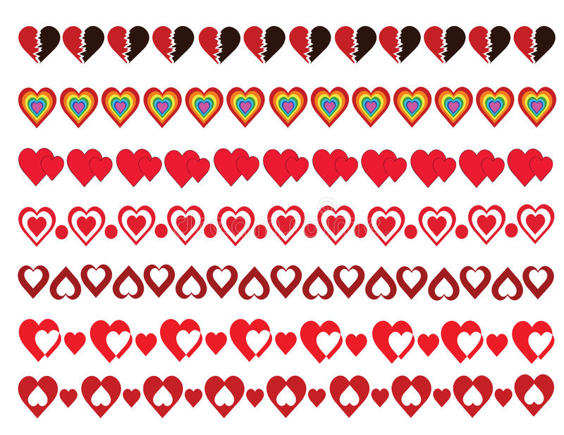 Hearts Borders Pack royalty free illustration