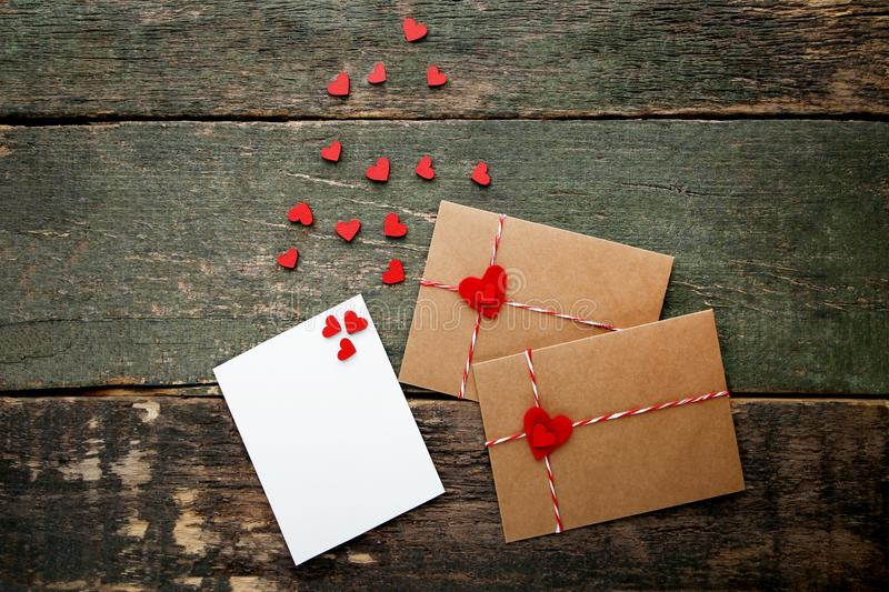 Hearts with brown envelopes stock photography