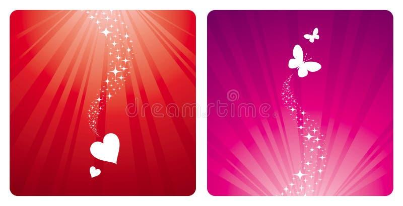 Hearts & butterflies stock illustration