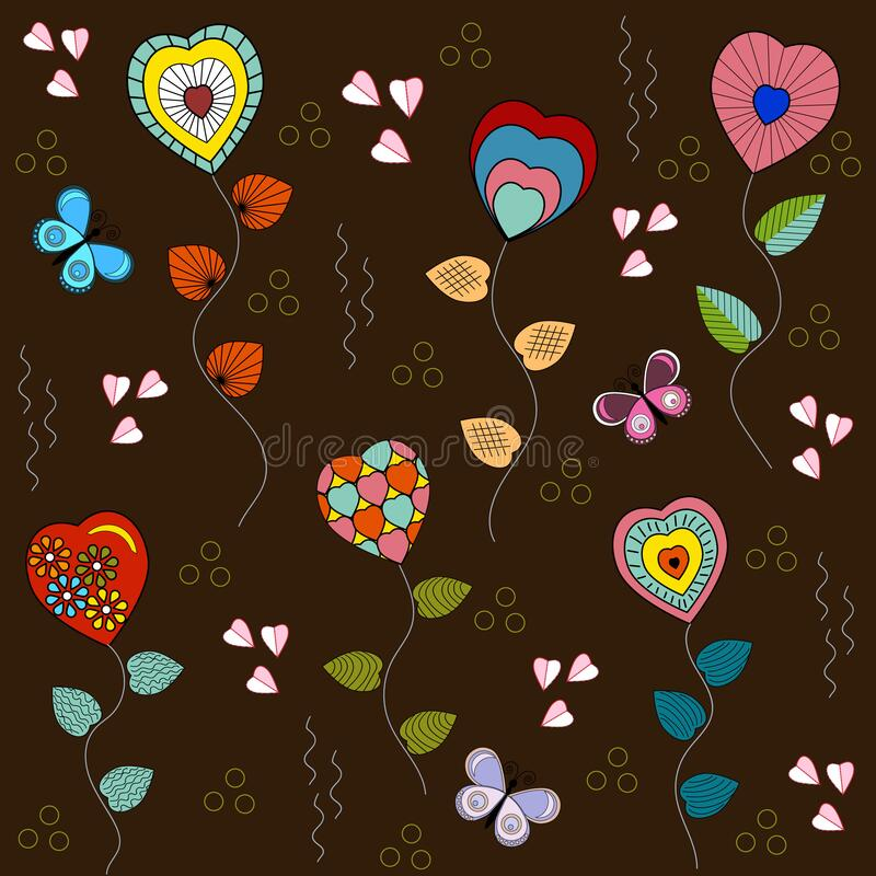 Pattern-of-hearts-on-a-brown-background. Hearts and butterflies with decorative elements in a seamless pattern, brown background, vector vector illustration