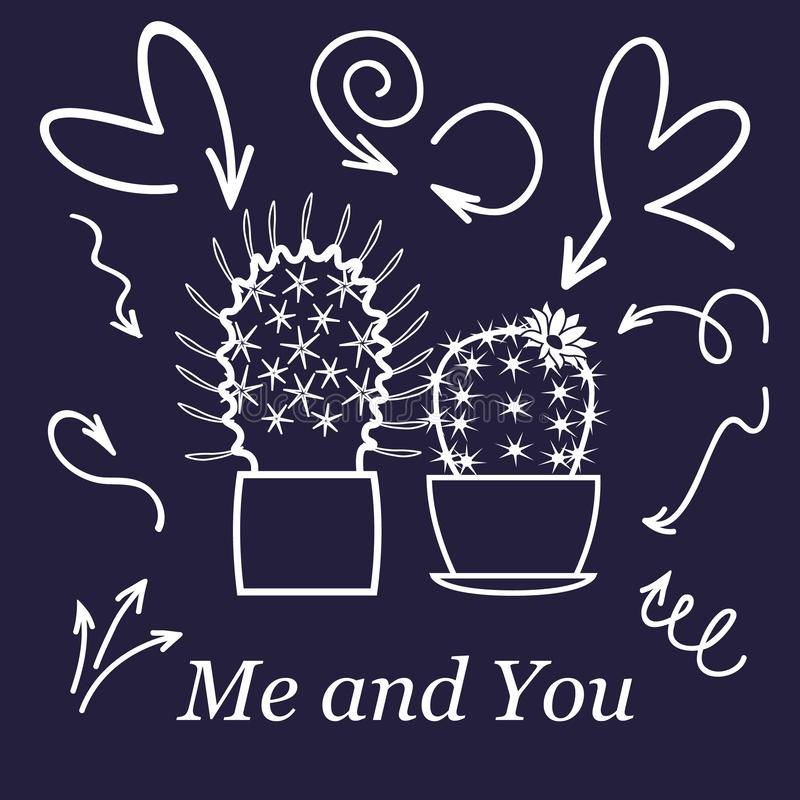 Hearts and cactus. Cute love or friendship cactus couple on valentine doodle card with affection hearts in white line. On dark background stock illustration