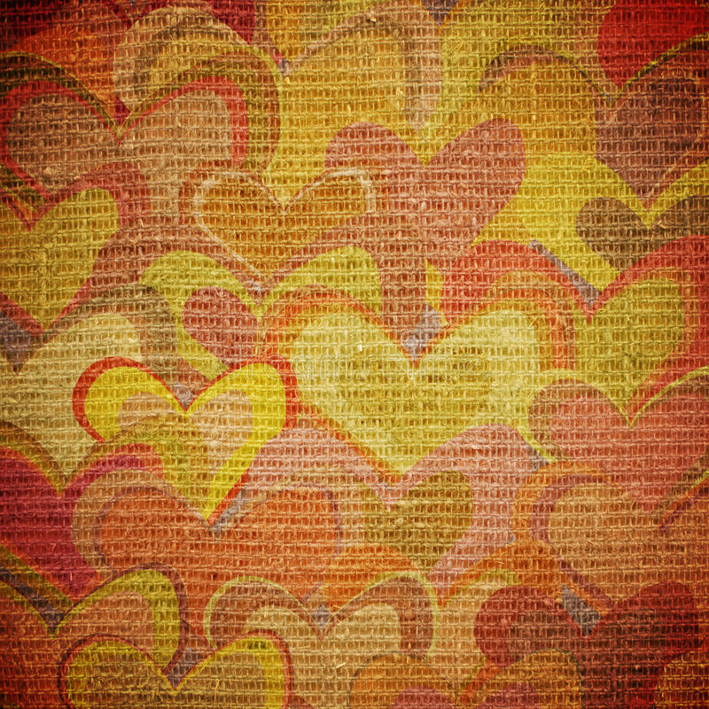Hearts on canvas. Scattered colorful hearts on canvas royalty free illustration
