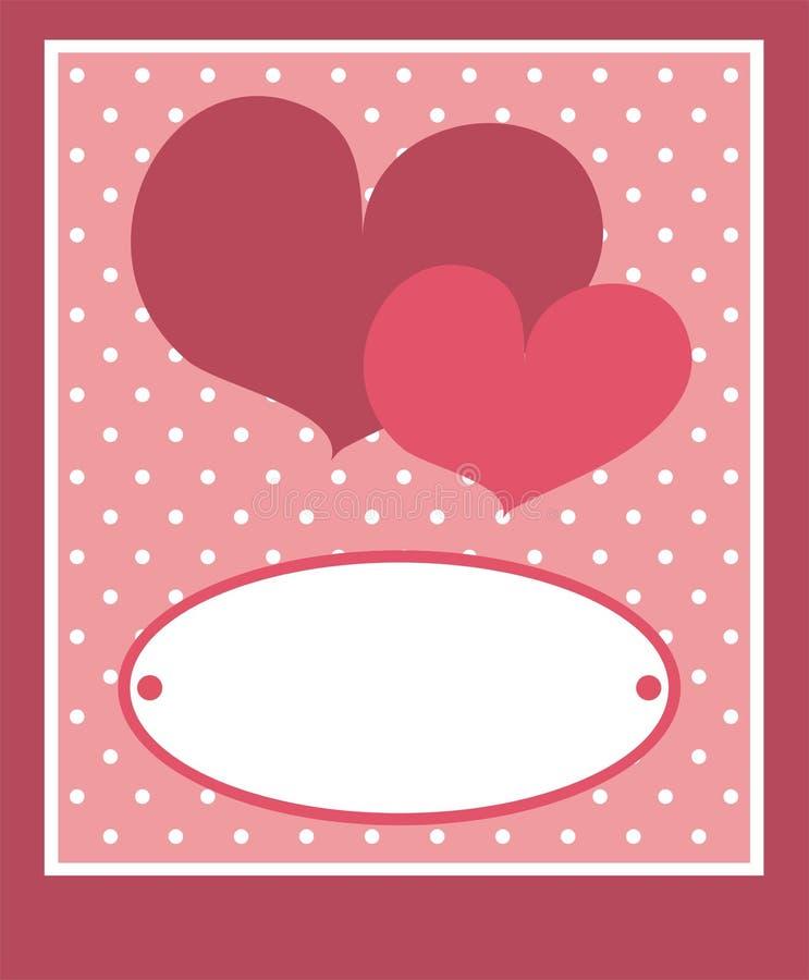 Hearts card or invitation with white polka dots stock photos