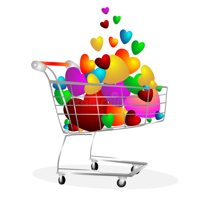 Hearts in the cart. It is a lot hearts in the cart for supermarkets on pure background royalty free illustration