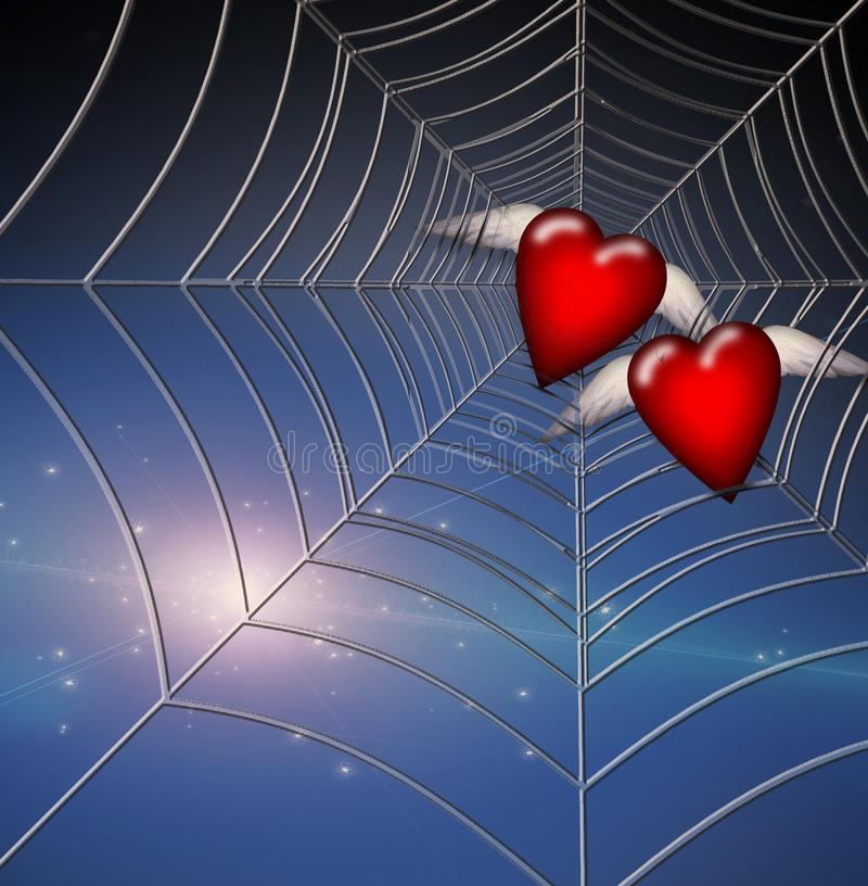 Free Hearts Caught In Web Royalty Free Stock Photo - 19892695