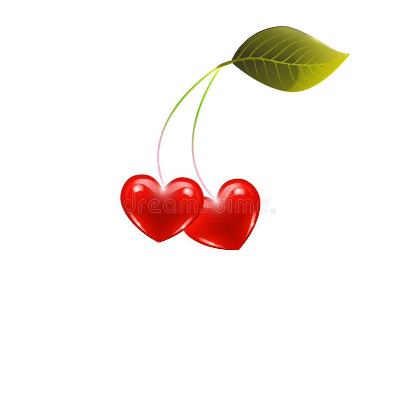 Hearts and cherry , leaf, on white background, vec royalty free stock photos