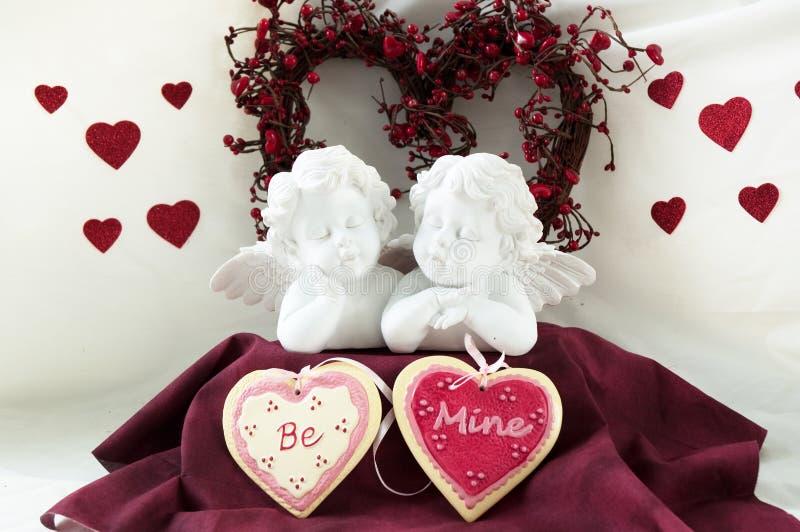 Hearts and cherubs stock image
