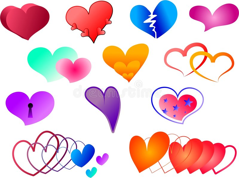 Hearts collection vector illustration