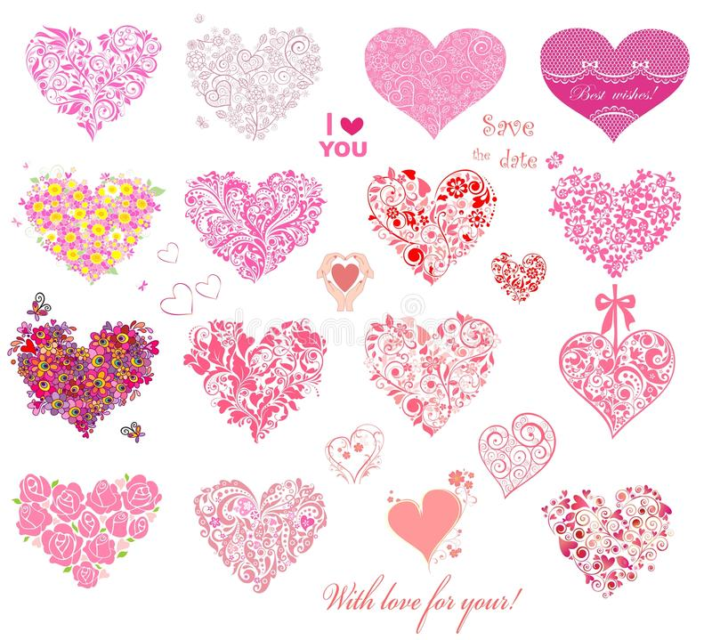 Hearts collection. Collection of beautiful hearts collection royalty free illustration