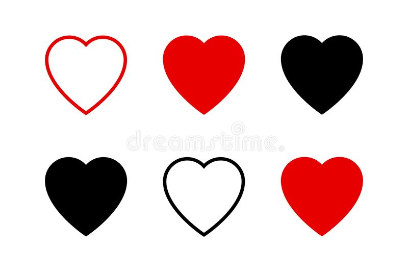Hearts collection icons. Heart and Like icons. Concept of love. Love symbols. Set of hearts in trendy simple flat and line design stock illustration