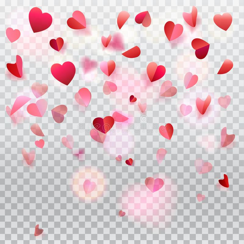 Hearts confetti rose petals flying transparent romance vector illustration
