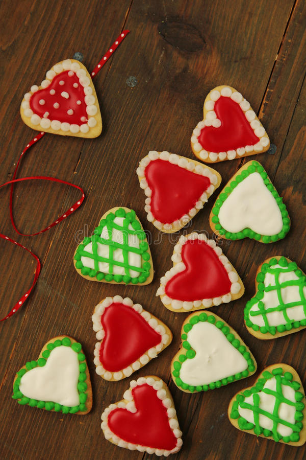 Download Hearts cookies stock image. Image of iced, green, aromas - 27767559