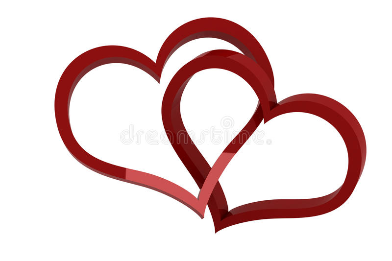 Hearts cross. Isolated render on white background stock illustration
