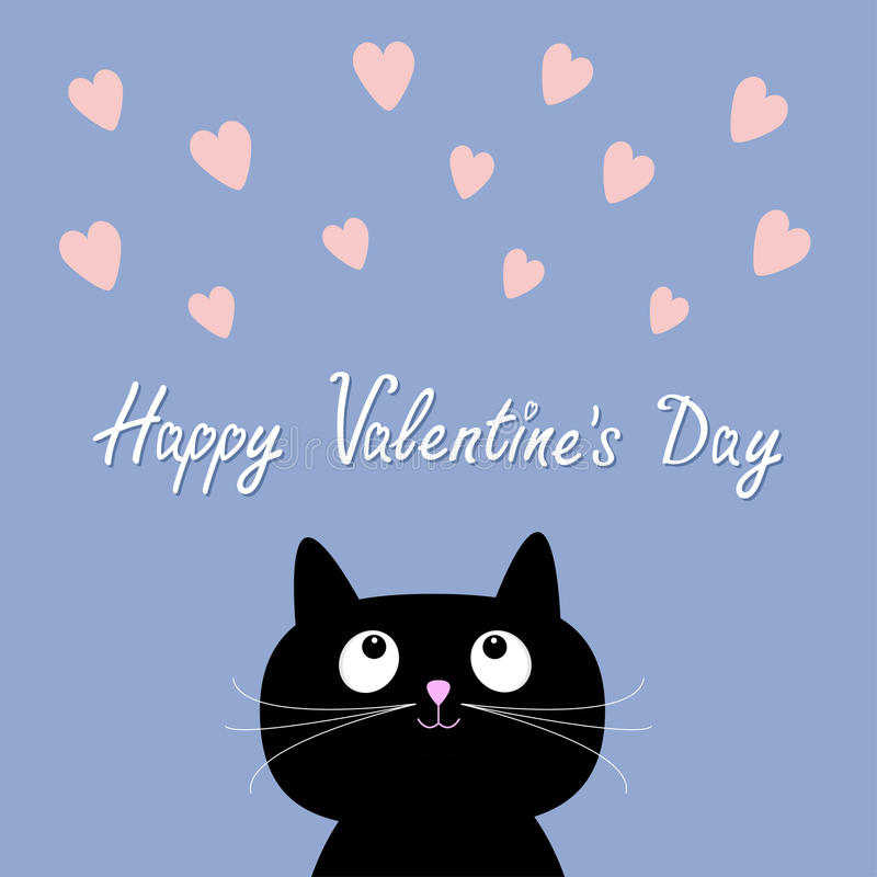 Hearts and cute cartoon cat. Flat design style. Happy Valentines day card. Rose quartz serenity color background. Vector illustration vector illustration