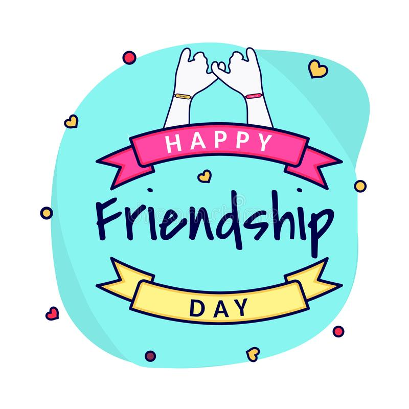 Hearts decorated greeting card design with illustration of joining hand and friendship day ribbon. vector illustration