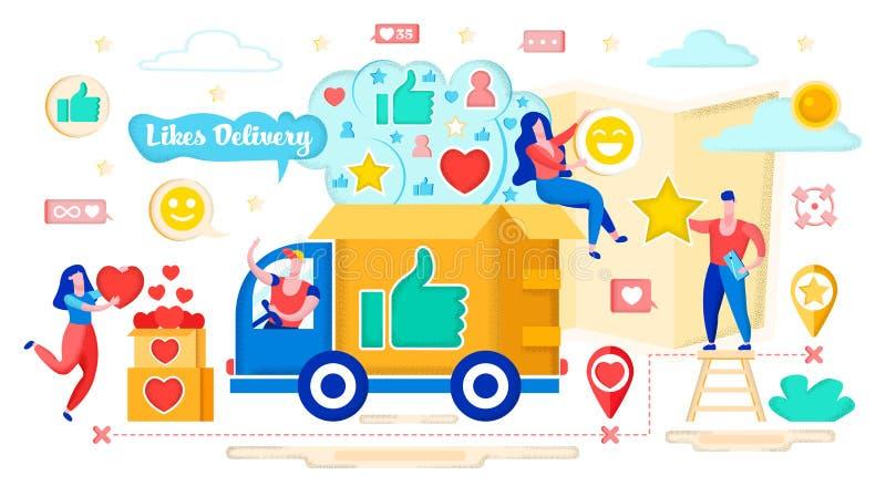 Hearts Delivery Concept, Social Media Marketing. stock illustration