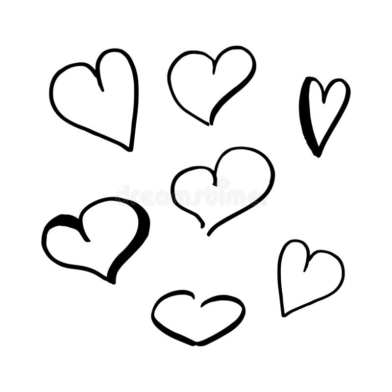 Hearts doodle set. Collection of hand drawn careless hearts. Black isolated on a white background. Vector illustrations. royalty free illustration