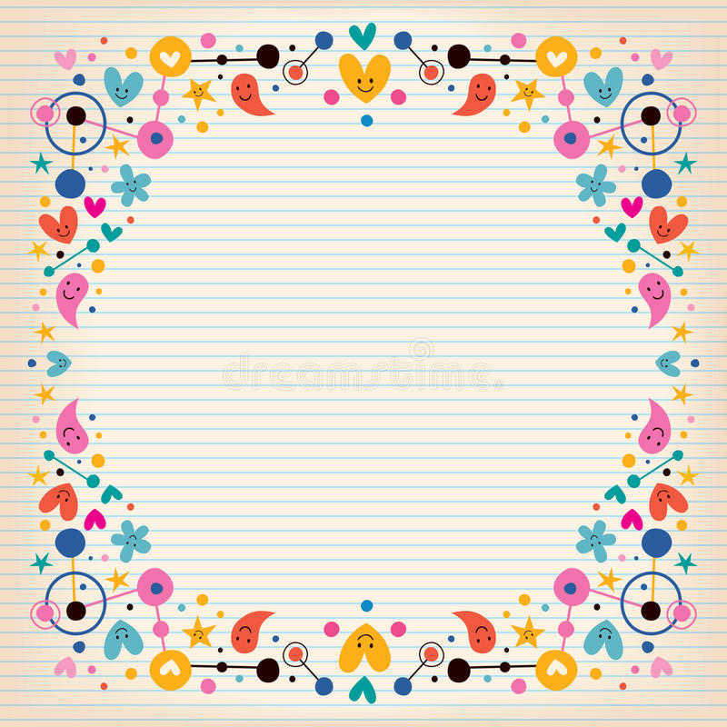 Hearts, dots, flowers and stars funky note paper frame border stock illustration