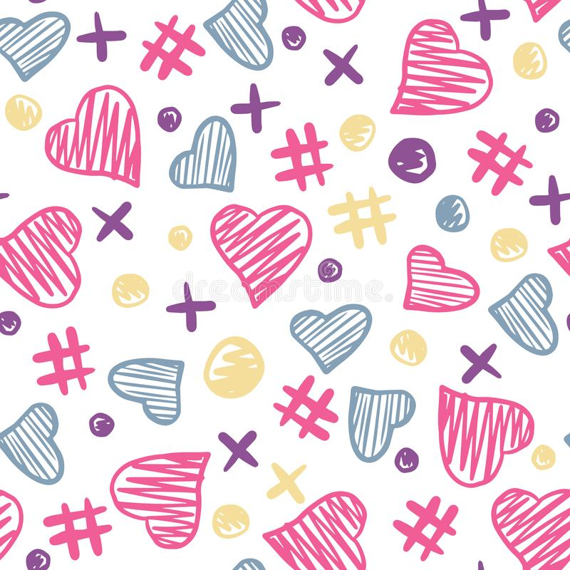 Hearts elements seamless pattern. 14 february. Valentine Day backdrop vector illustration