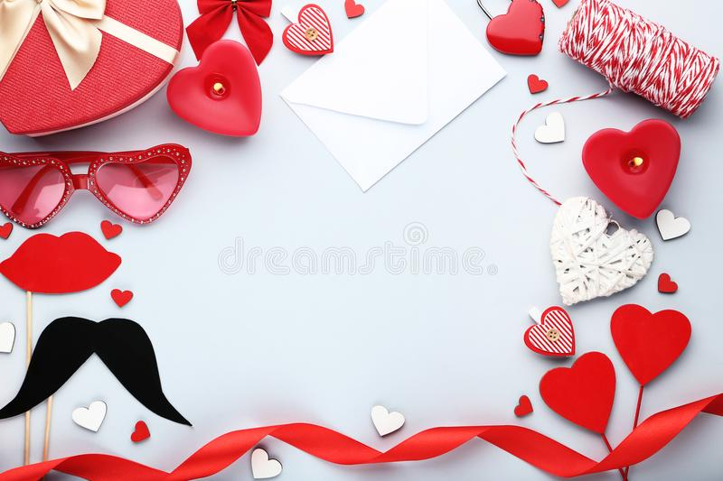 Hearts with envelope, candles royalty free stock images