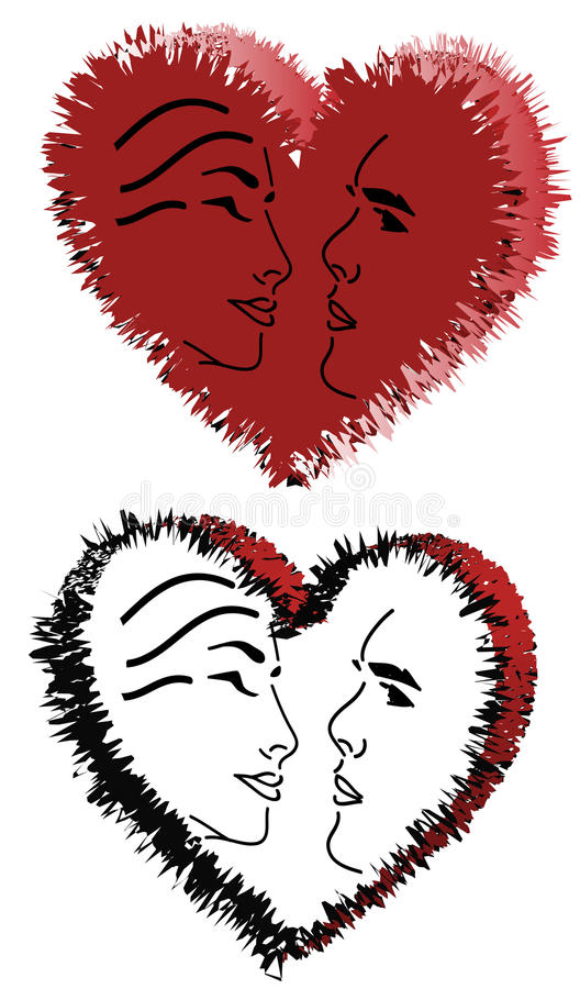 Download Hearts and faces stock vector. Image of symbol, couple - 31117384