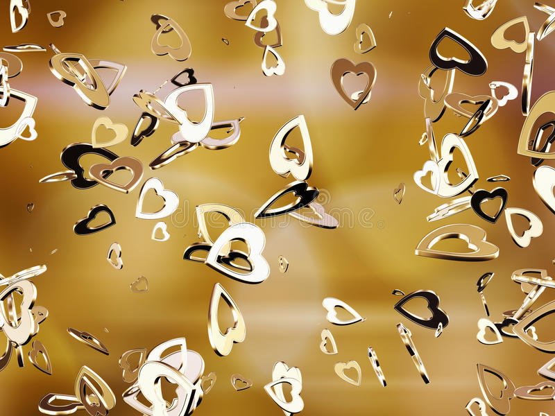 Hearts. Falling golden heart shapes . Abstraction vector illustration