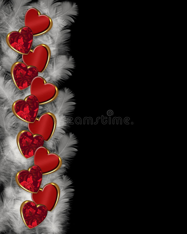 hearts and feathers border stock image
