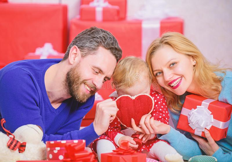 Hearts filled with love. Couple in love and baby daughter. Valentines day concept. Together on valentines day. Lovely stock photos