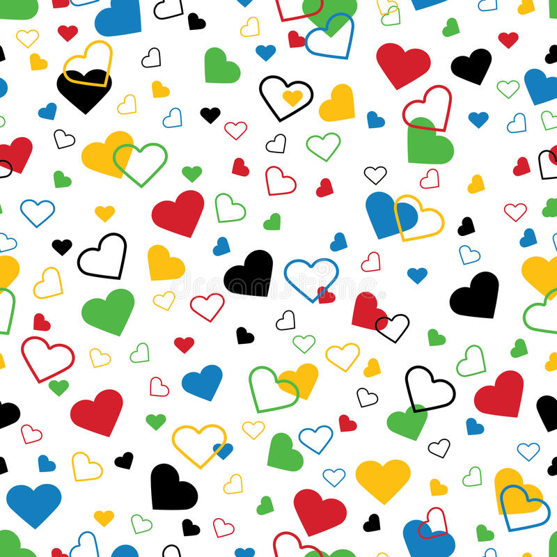 Hearts of five colors. Seamless ornament or backgr stock illustration