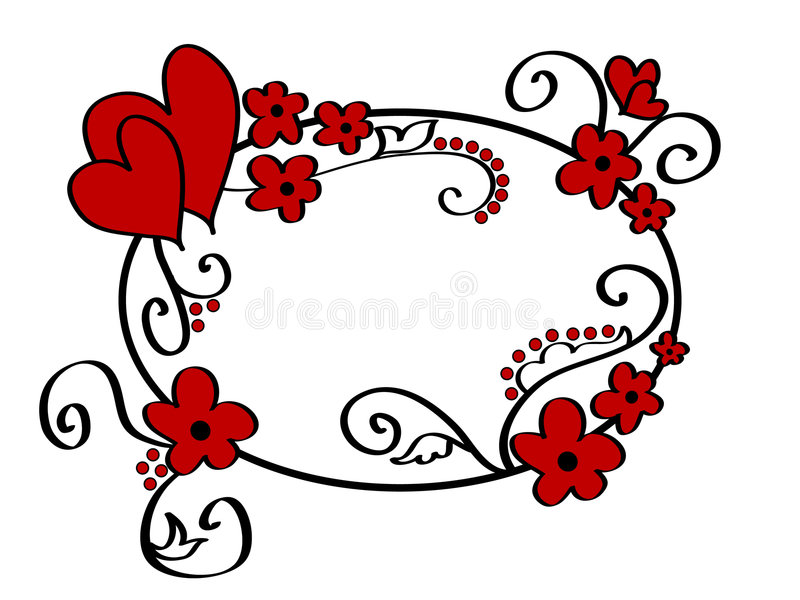 Hearts and floral frame vector illustration