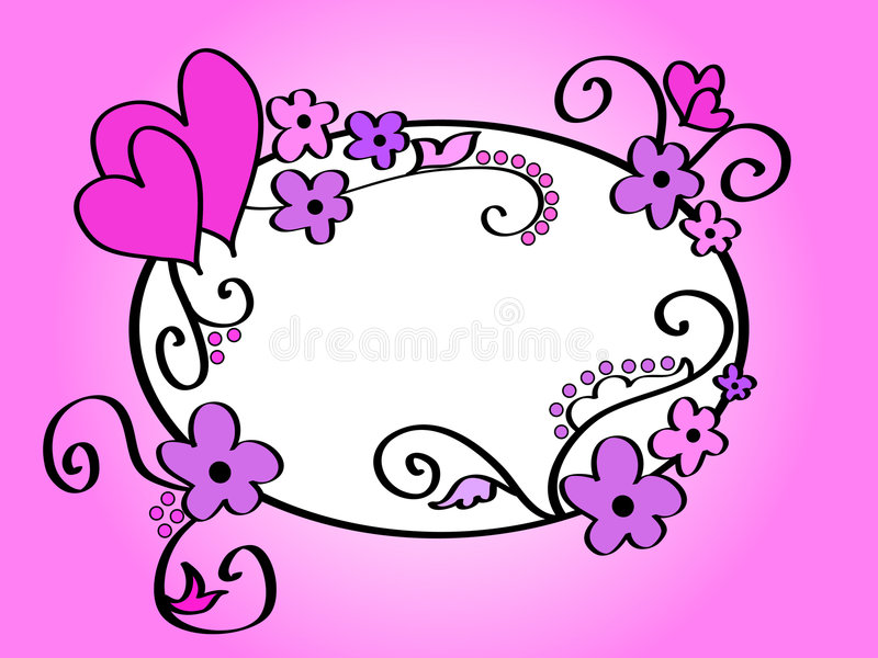 Hearts And Floral Frame Stock Photography