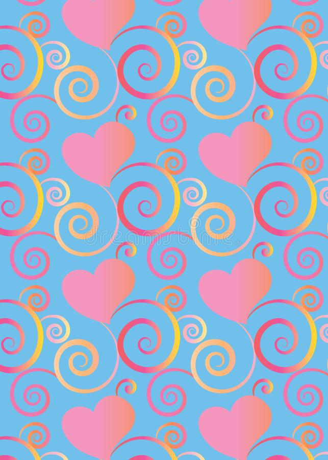 Hearts and flourish colorful pattern background for greeting cards and festive designs royalty free illustration