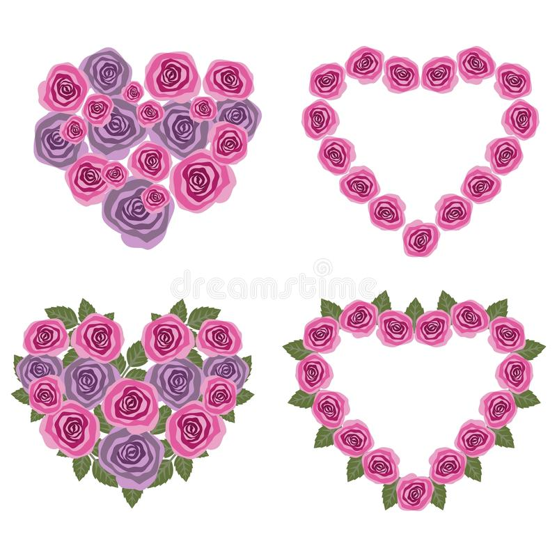 Hearts flower set 02 royalty free stock photography
