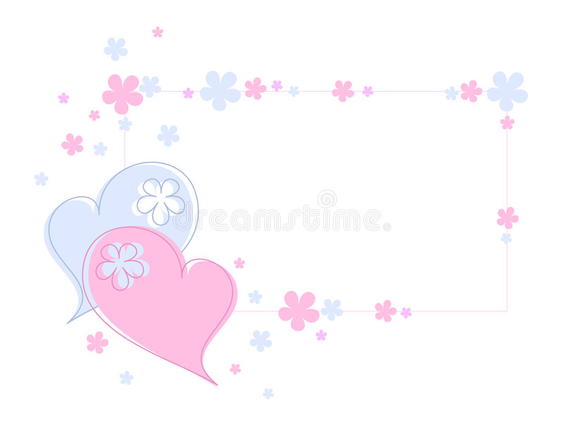 Hearts and flowers stock illustration