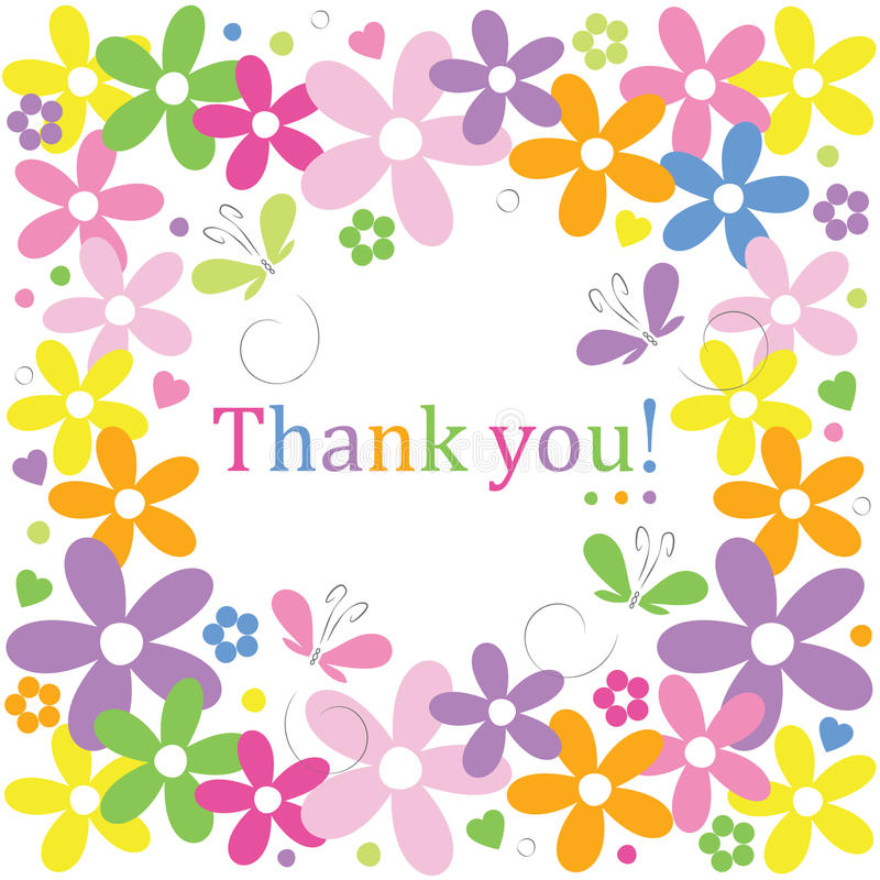 Hearts flowers and butterflies thank you card royalty free illustration