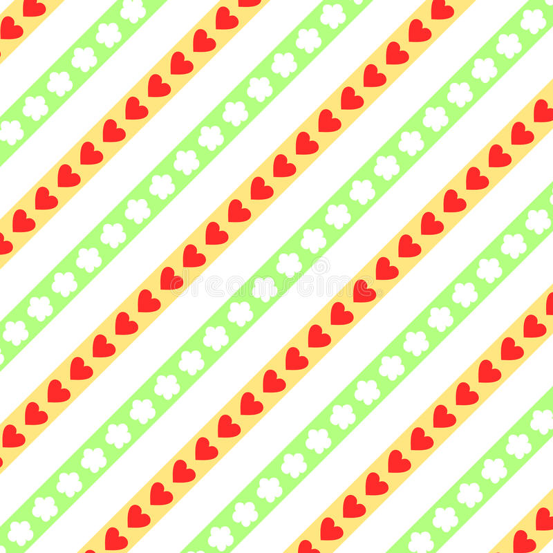 Hearts and flowers on diagonally stripes. Red hearts and white flowers on yellow and green diagonally stripes on white background in a square format stock illustration