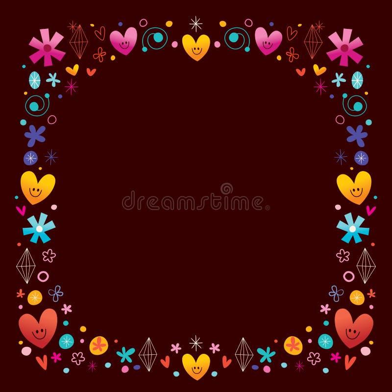 Hearts and flowers frame. Border design stock illustration