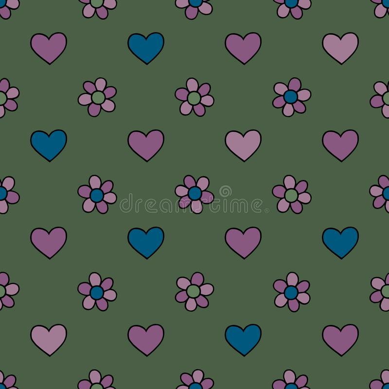 Hearts and flowers hand drawn vector seamless pattern. Spring background. Love texture for surface design, vector illustration