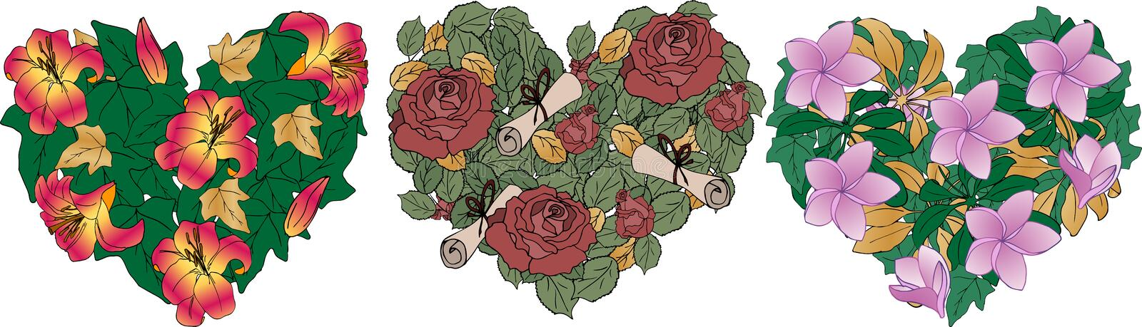 Hearts of flowers - lilies, roses, Magnolia with gold and green leaves. Vector. Can be used as a design element to a greeting card. For Valentine`s day royalty free illustration