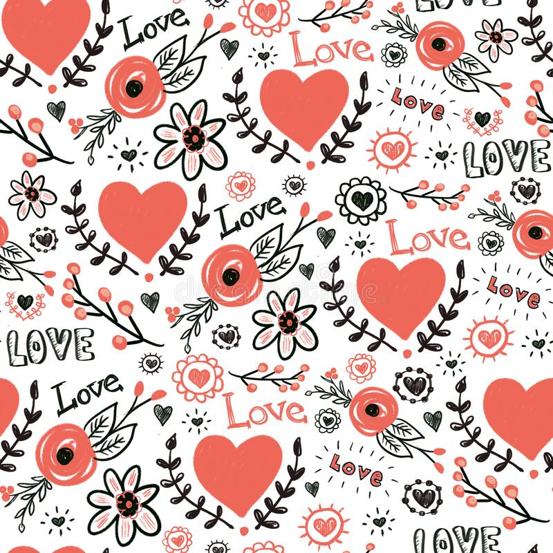 Hearts flowers love doodles hand drawn seamless pattern. Valentines day repeating background. Red and black sketches of.  royalty free illustration